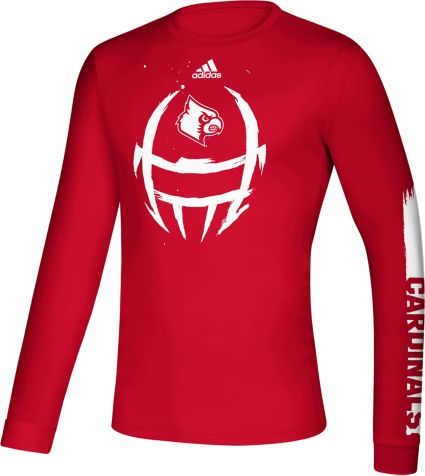 new product 94cc5 b8f07 adidas Men's Louisville Cardinals Cardinal Red Locker Football Long Sleeve  T-Shirt