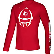 adidas Men's Louisville Cardinals Cardinal Red Locker Football Long Sleeve T-Shirt