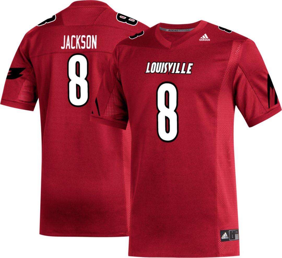buy popular ab554 11726 adidas Men's Lamar Jackson Louisville Cardinals #8 Cardinal Red Replica  Football Jersey
