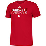 adidas Men's Louisville Cardinals Cardinal Red Sideline Locker Stacked T-Shirt