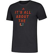 adidas Men's Miami Hurricanes Slogan Black T-Shirt