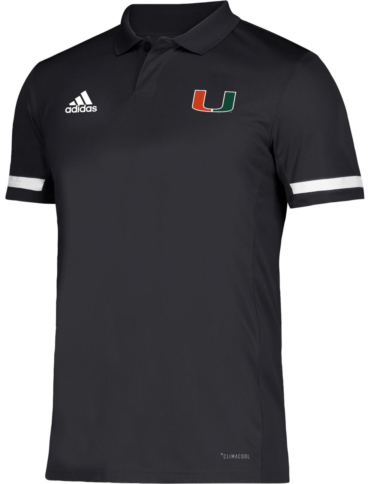 adidas Men's Miami Hurricanes Team 19 Sideline Football Black Polo