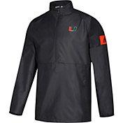 adidas Men's Miami Hurricanes Game Mode Woven Sideline Quarter-Zip Black Shirt