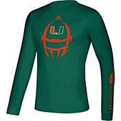adidas Men's Miami Hurricanes Green Locker Football Long Sleeve T-Shirt
