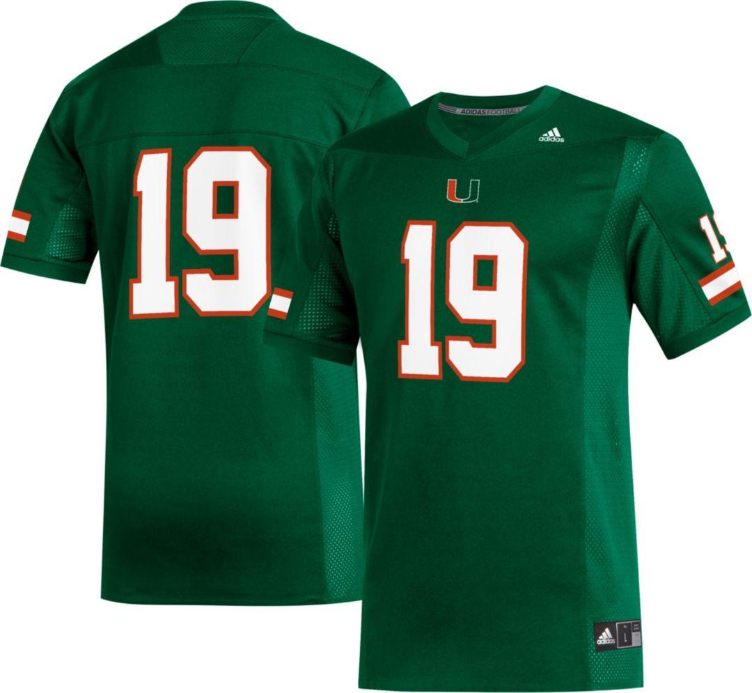 official photos 75375 01edd adidas Men's Miami Hurricanes #19 Green Replica Football Jersey