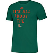 adidas Men's Miami Hurricanes Green Slogan T-Shirt