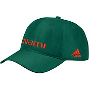 adidas Men's Miami Hurricanes Green Coach Slouch Adjustable Sideline Hat