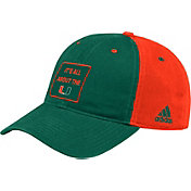 adidas Men's Miami Hurricanes Green Slogan Adjustable Hat