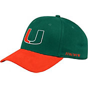 adidas Men's Miami Hurricanes Green Coach Structured Flex Sideline Hat