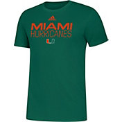 adidas Men's Miami Hurricanes Green Sideline Locker Stacked T-Shirt