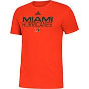 adidas Men's Miami Hurricanes Orange Sideline Locker Stacked T-Shirt