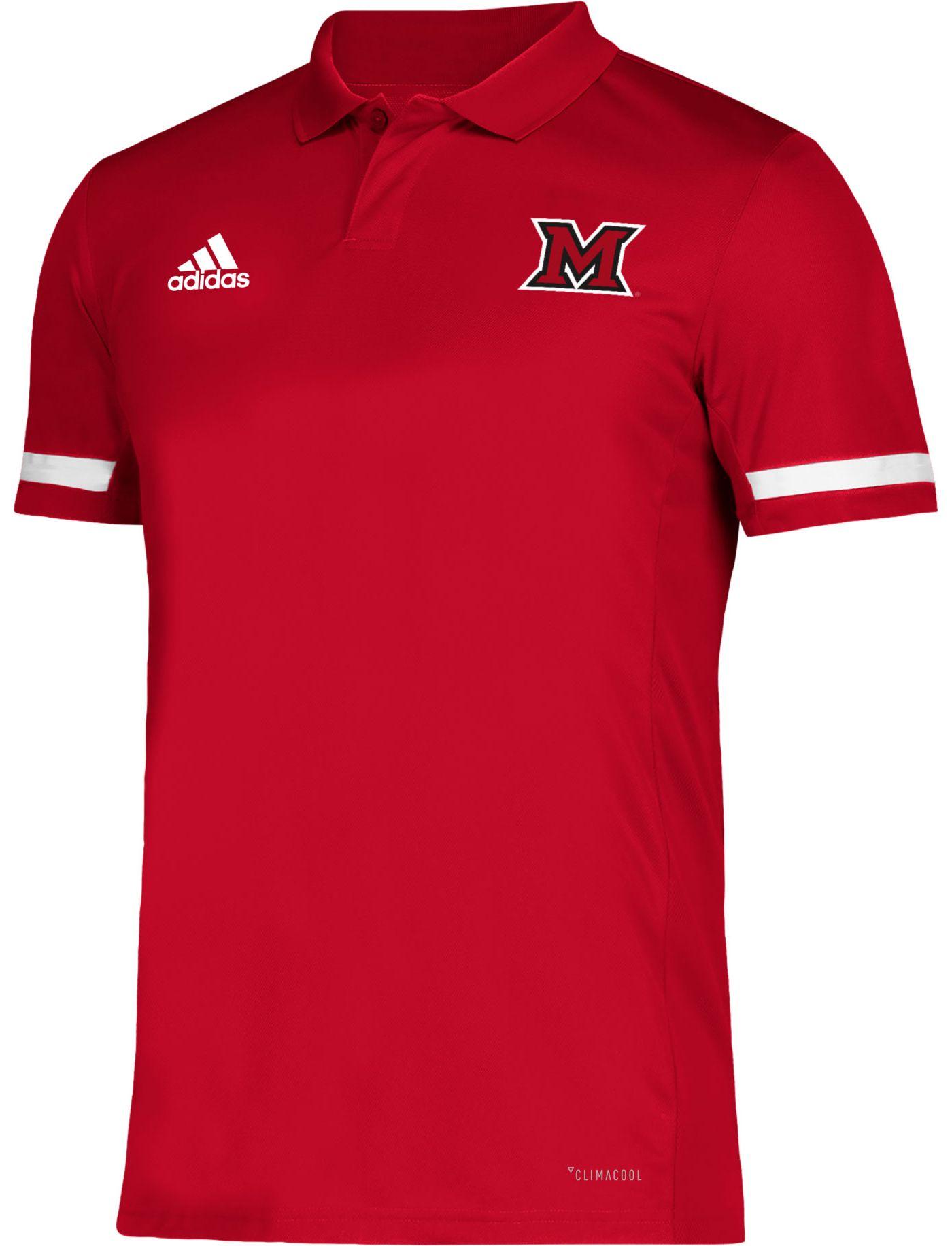 adidas Men's Miami RedHawks Red Team 19 Sideline Football Polo