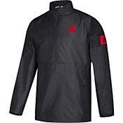 adidas Men's Nebraska Cornhuskers Game Mode Woven Sideline Quarter-Zip Black Shirt