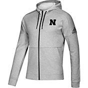 adidas Men's Nebraska Cornhuskers Grey Full-Zip Tonal Hoodie