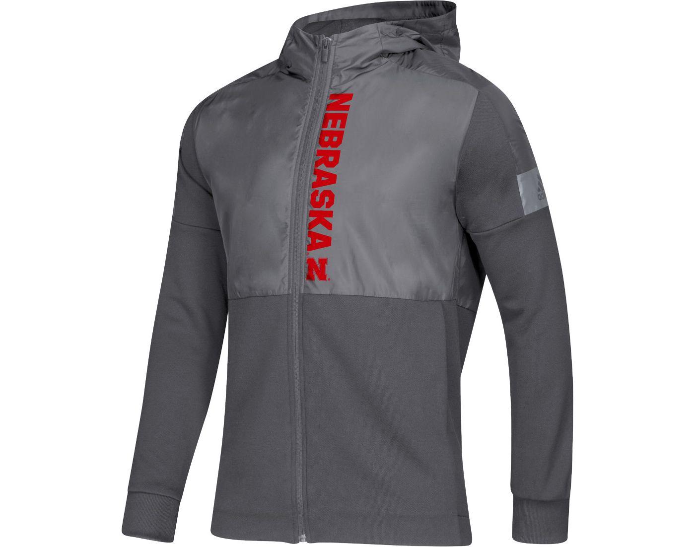 adidas Men's Nebraska Cornhuskers Grey Game Mode Sideline Full-Zip Jacket