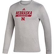 adidas Men's Nebraska Cornhuskers Grey Creator Performance Long Sleeve T-Shirt