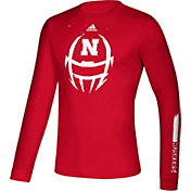 adidas Men's Nebraska Cornhuskers Scarlet Locker Football Long Sleeve T-Shirt