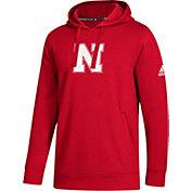 adidas Men's Nebraska Cornhuskers Scarlet Logo Fleece Pullover Hoodie