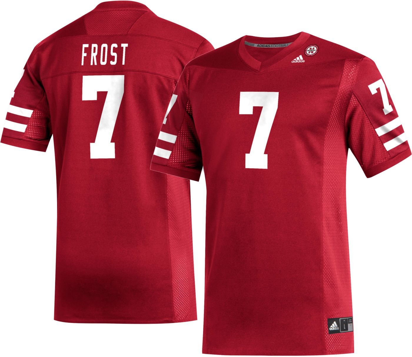 adidas Men's Scott Frost Nebraska Cornhuskers #7 Scarlet Replica Football Jersey