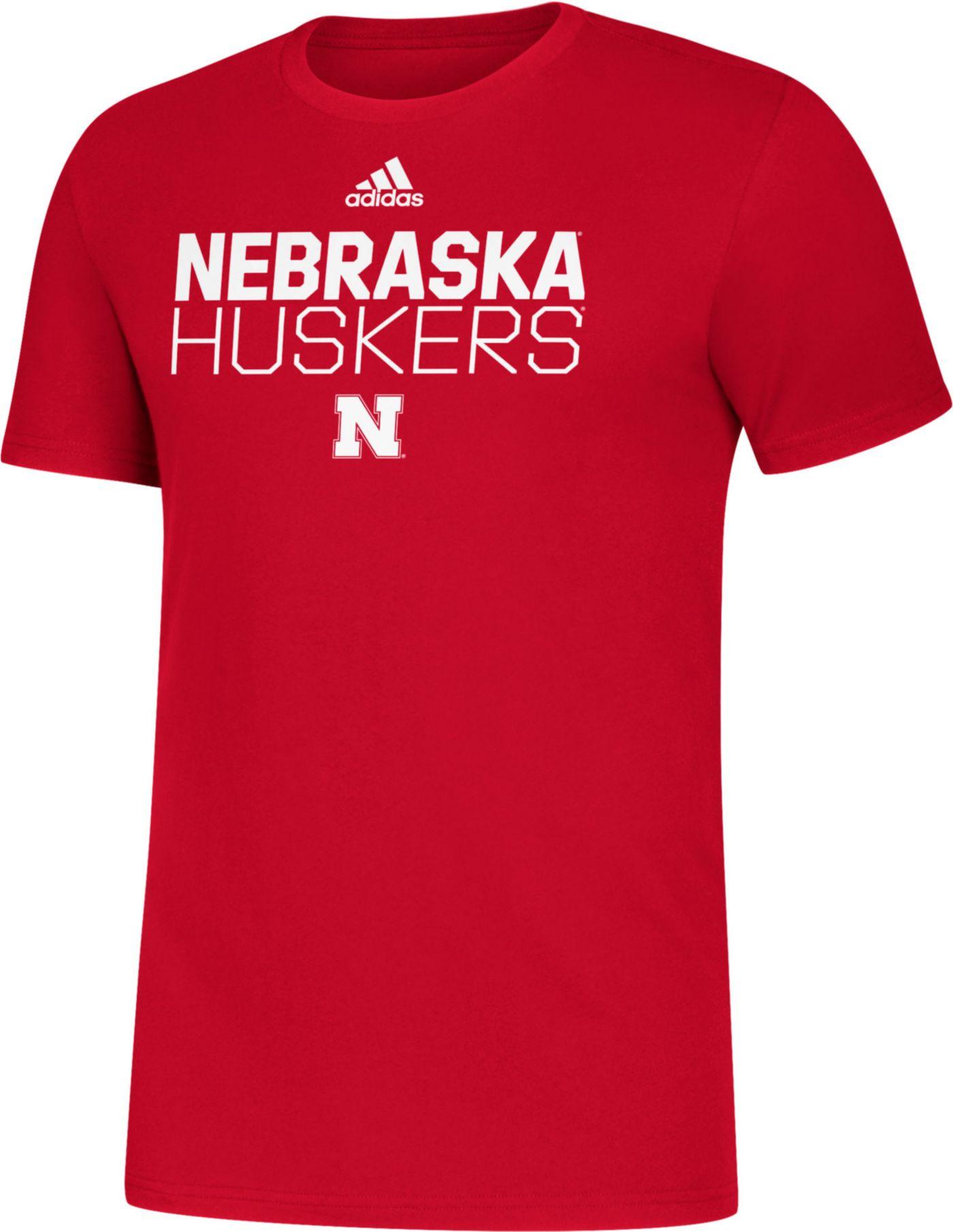 adidas Men's Nebraska Cornhuskers Scarlet Sideline Locker Stacked T-Shirt
