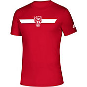 adidas Men's NC State Wolfpack Red Locker Stripe Sideline T-Shirt