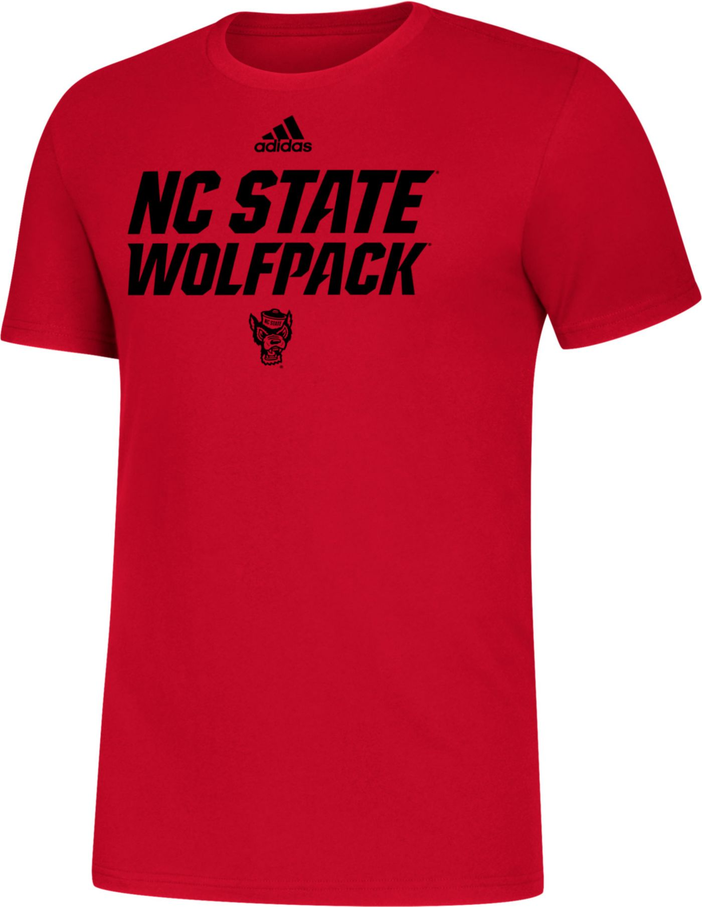 adidas Men's NC State Wolfpack Red Sideline Locker Stacked T-Shirt