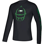adidas Men's North Dakota Fighting Hawks Locker Football Long Sleeve Black T-Shirt