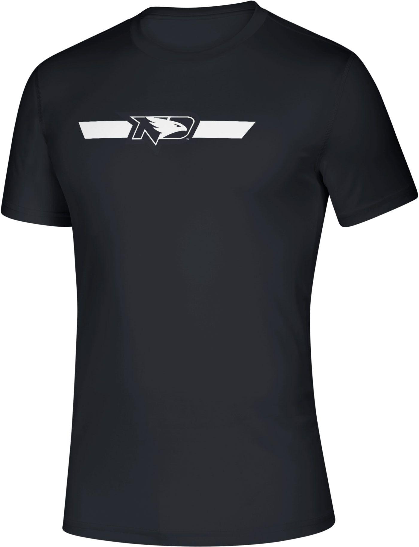 adidas Men's North Dakota Fighting Hawks Locker Stripe Sideline Black T-Shirt