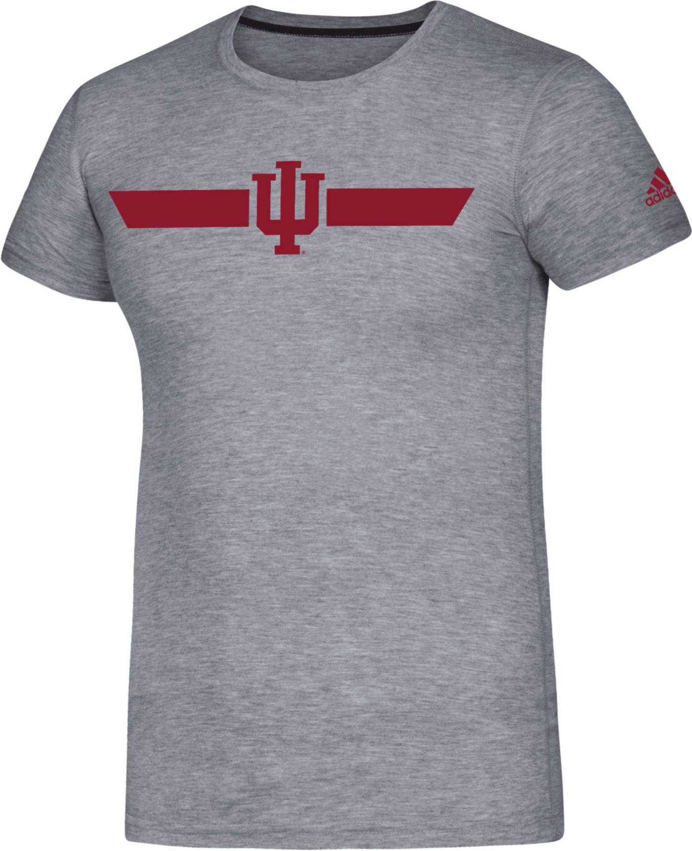 adidas Men's Indiana Hoosiers Grey Locker Stripe Sideline T-Shirt
