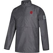 adidas Men's Indiana Hoosiers Grey Game Mode Woven Sideline Quarter-Zip Shirt