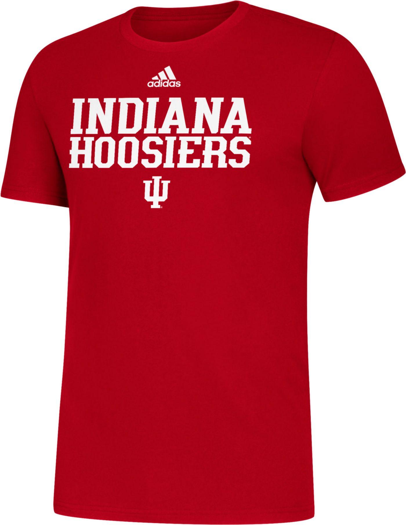 adidas Men's Indiana Hoosiers Crimson Sideline Locker Stacked T-Shirt