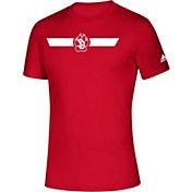 adidas Men's South Dakota Coyotes Red Locker Stripe Sideline T-Shirt