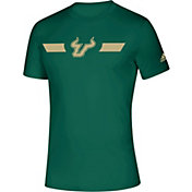adidas Men's South Florida Bulls Green Locker Stripe Sideline T-Shirt