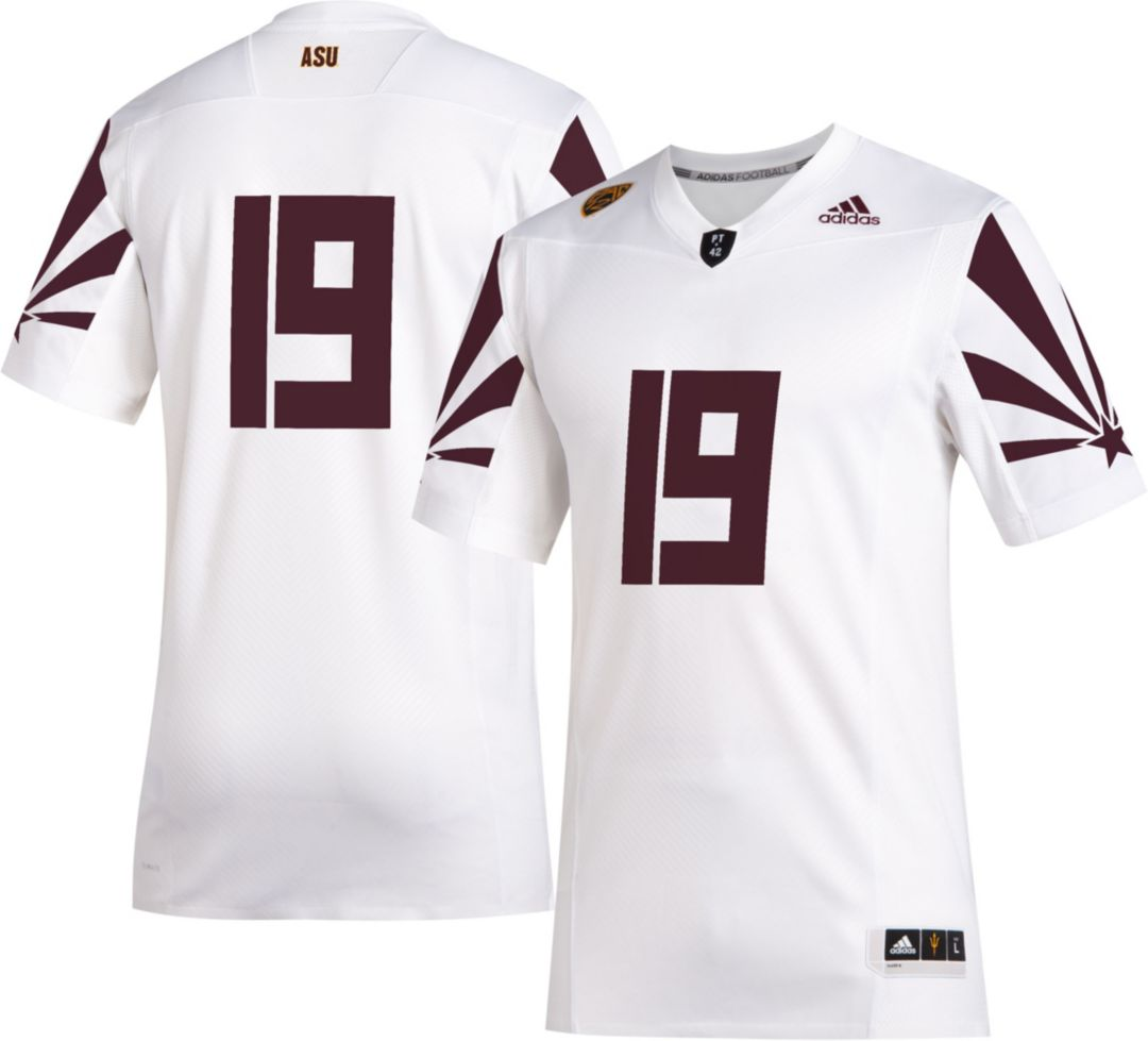 reputable site 579e7 52b0b adidas Men's Arizona State Sun Devils #19 Sustainability Premier Strategy  Football White Jersey