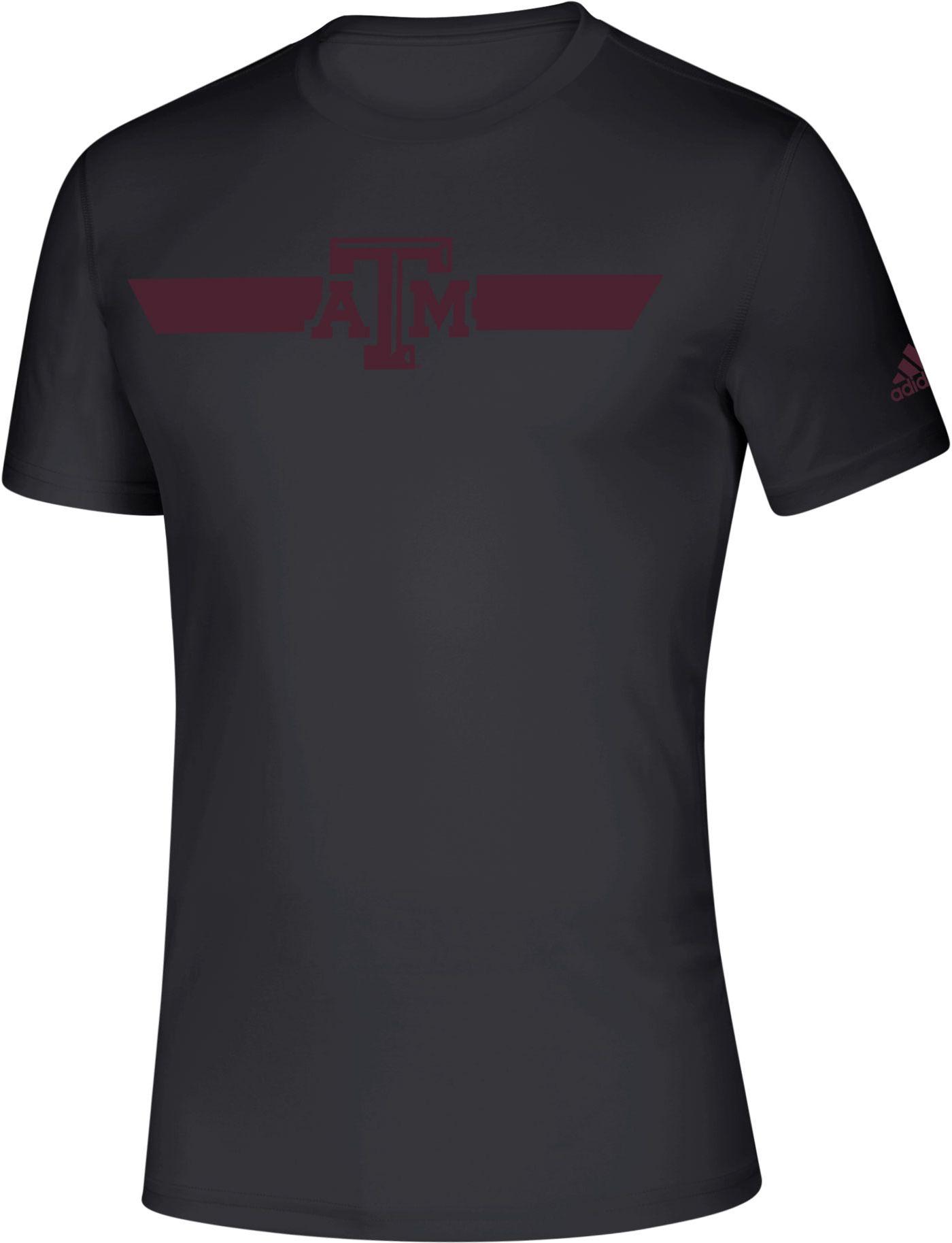 adidas Men's Texas A&M Aggies Locker Stripe Sideline Black T-Shirt