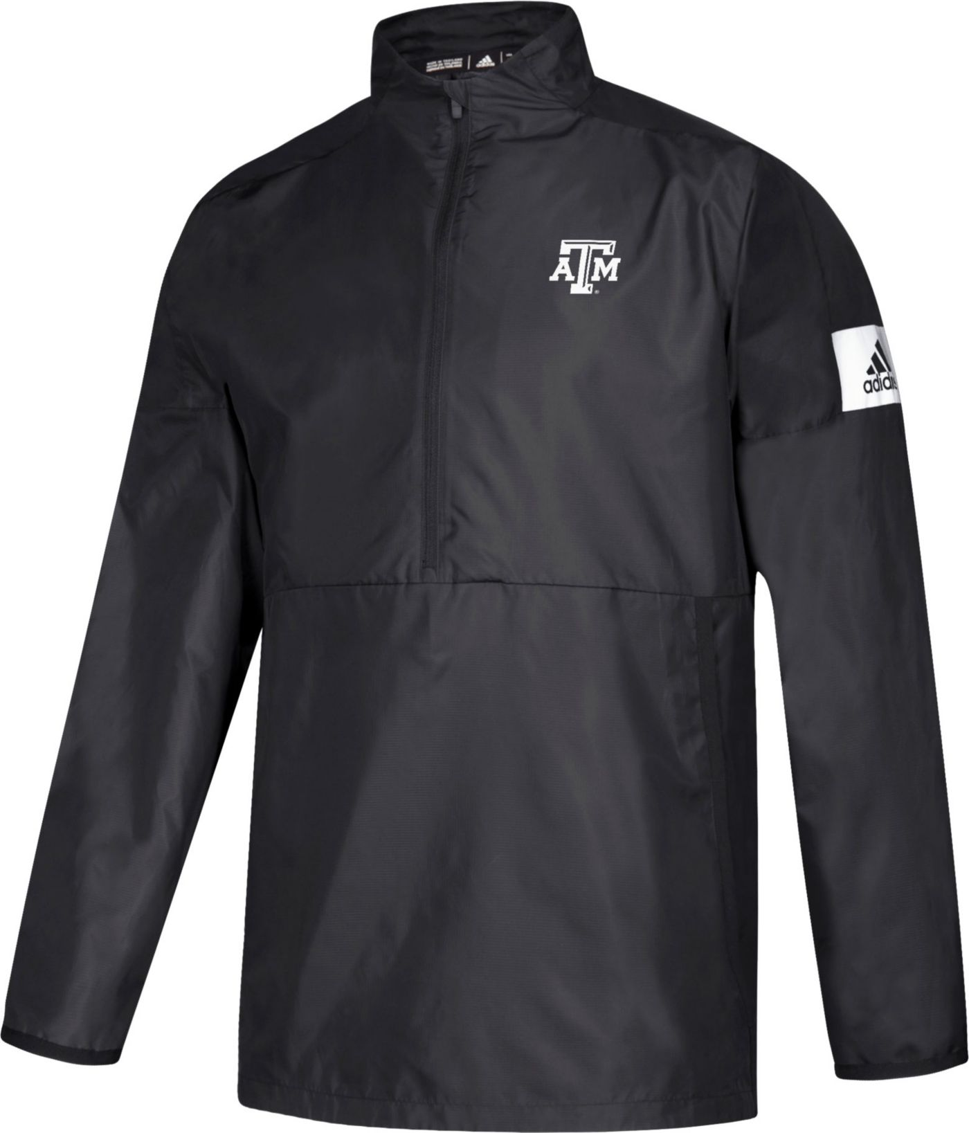 adidas Men's Texas A&M Aggies Game Mode Woven Sideline Quarter-Zip Black Shirt