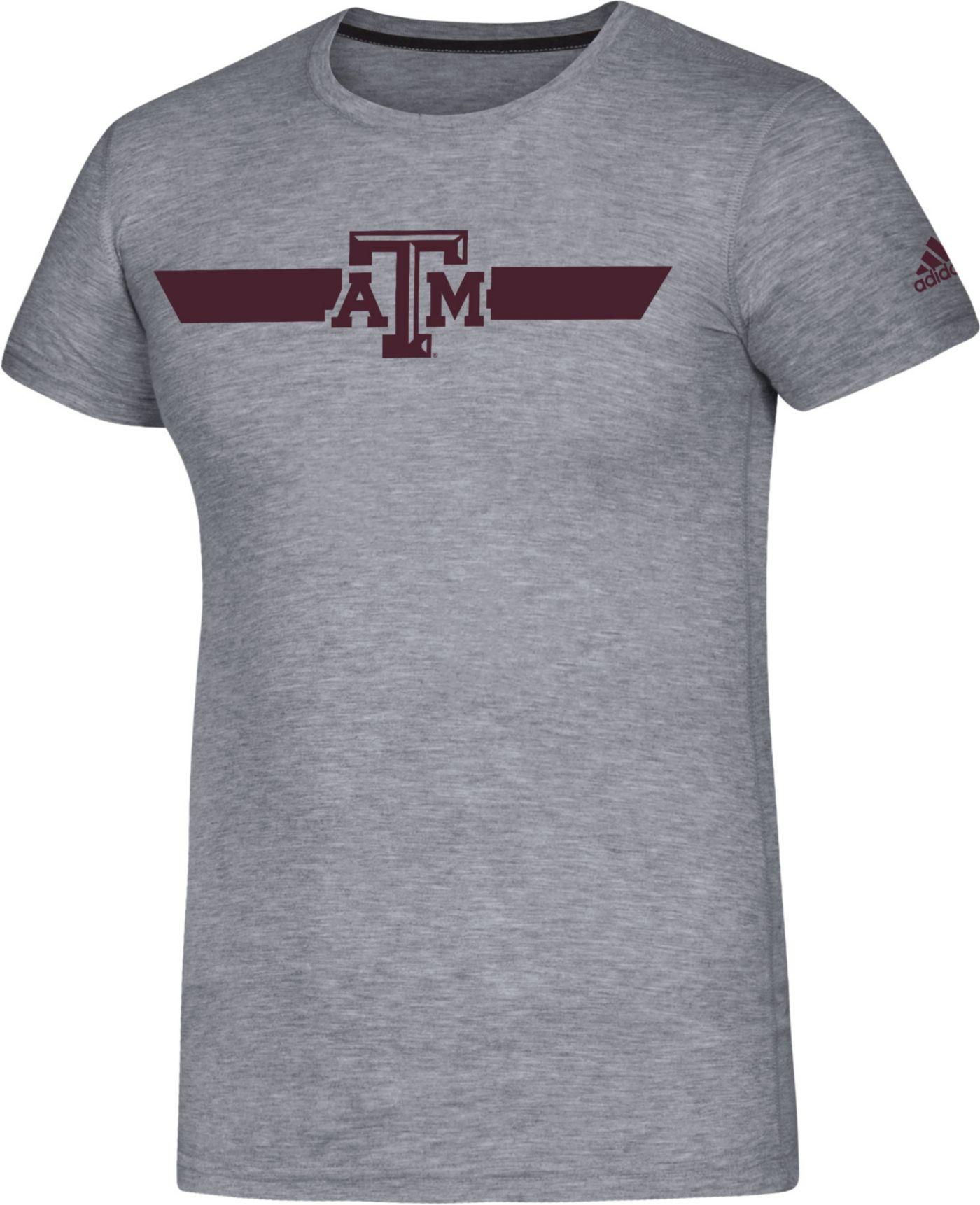 adidas Men's Texas A&M Aggies Grey Locker Stripe Sideline T-Shirt