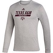 adidas Men's Texas A&M Aggies Grey Creator Performance Long Sleeve T-Shirt
