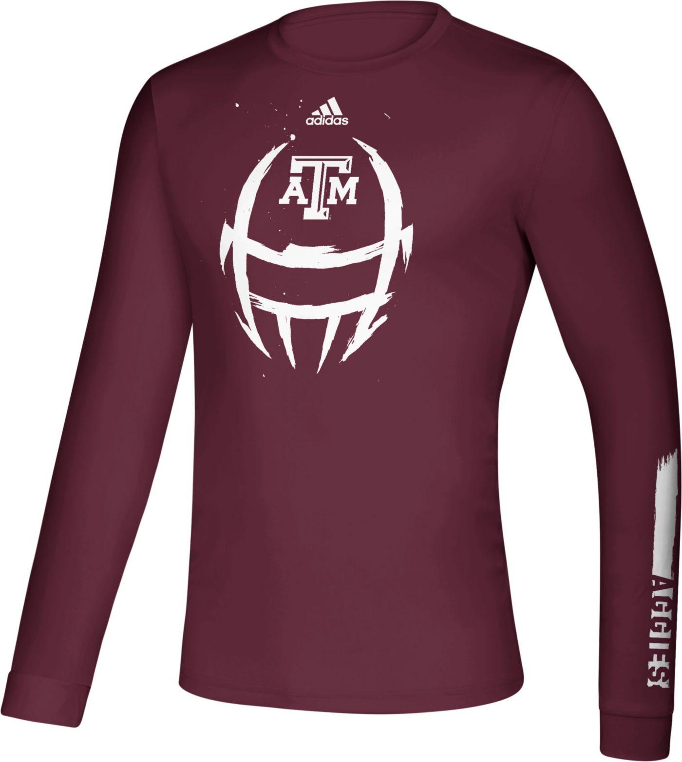 adidas Men's Texas A&M Aggies Maroon Locker Football Long Sleeve T-Shirt