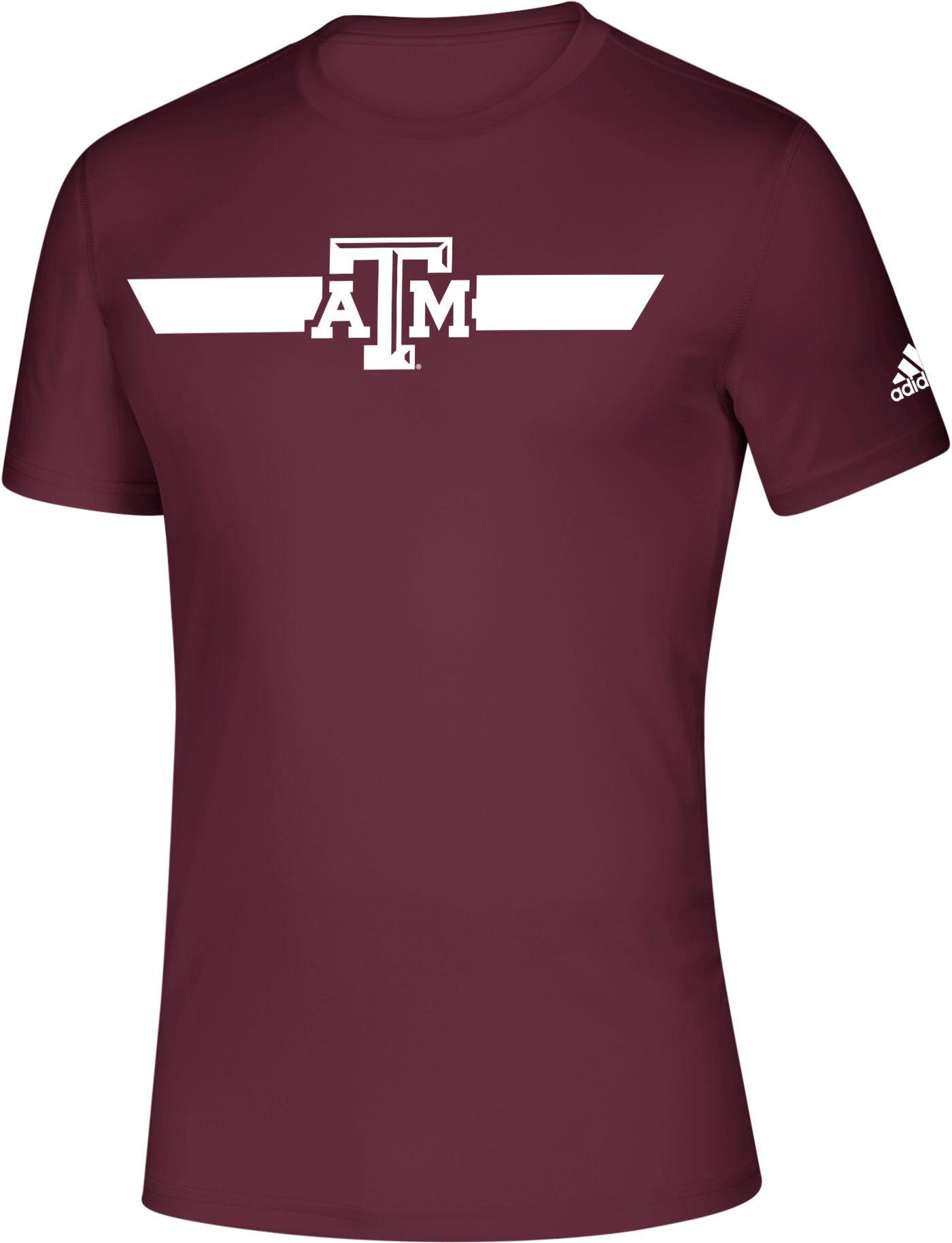 adidas Men's Texas A&M Aggies Maroon Locker Stripe Sideline T-Shirt