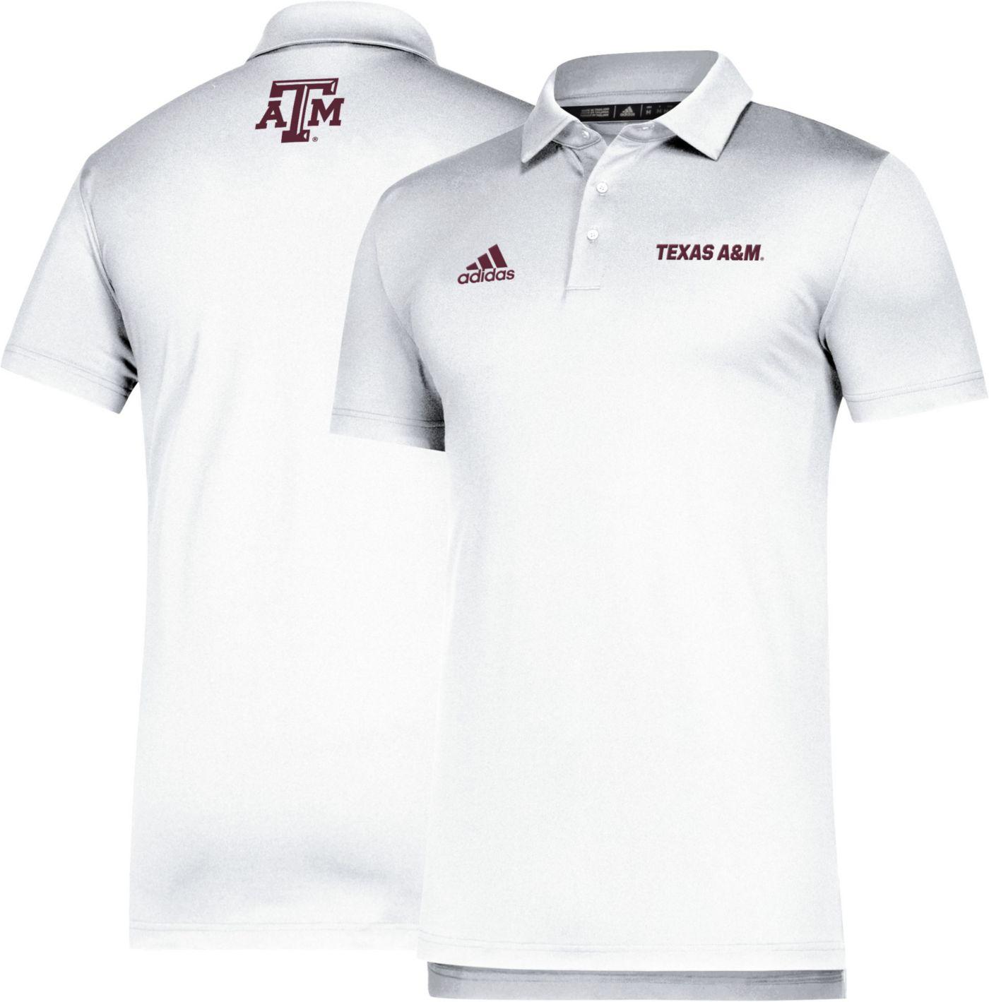 adidas Men's Texas A&M Aggies Game Mode Coordinator Sideline White Polo