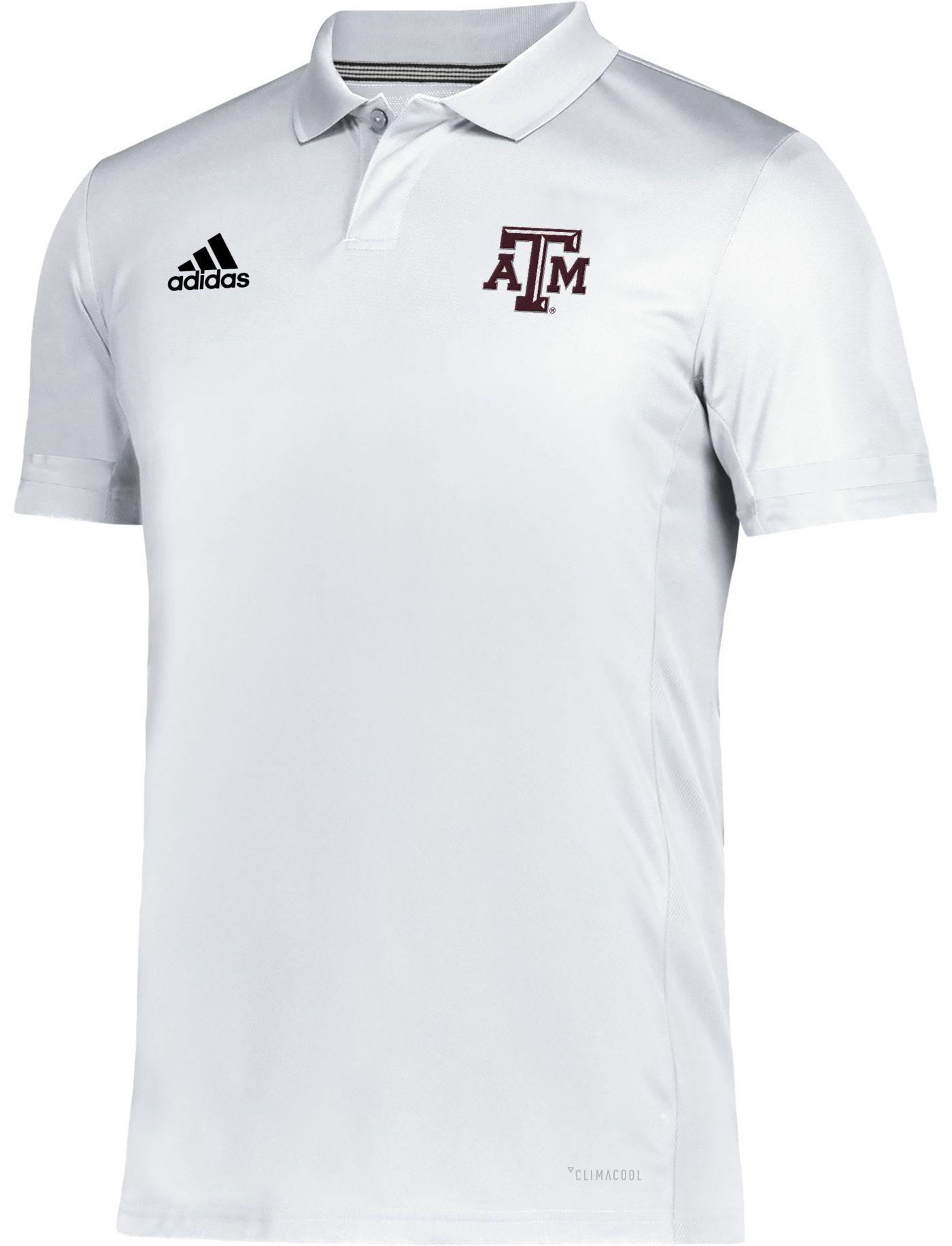 adidas Men's Texas A&M Aggies Team 19 Sideline Football White Polo