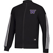 adidas Men's Washington Huskies Stadium ID Knit Full-Zip Track Black Top