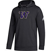 adidas Men's Washington Huskies Logo Fleece Pullover Black Hoodie