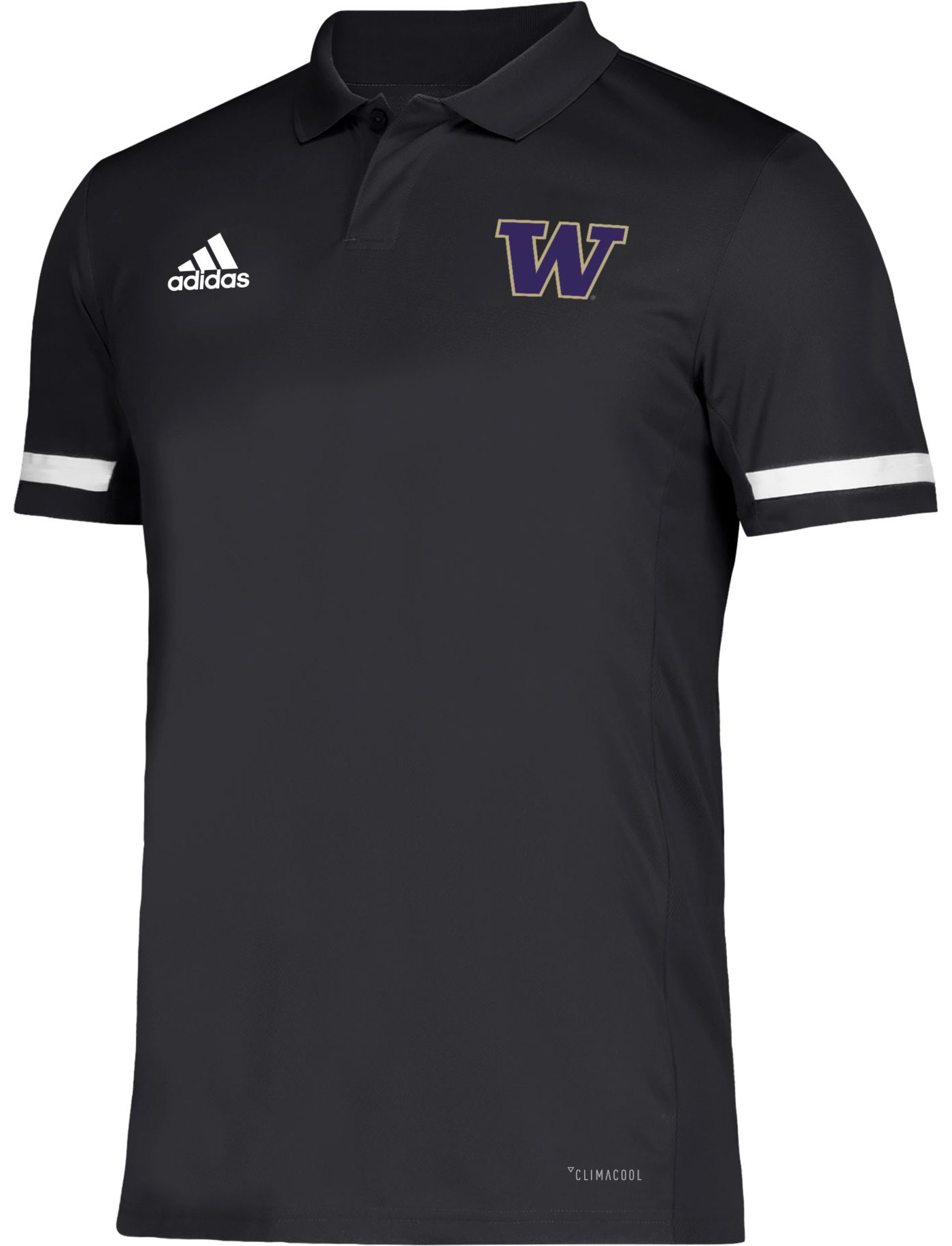 adidas Men's Washington Huskies Team 19 Sideline Football Black Polo