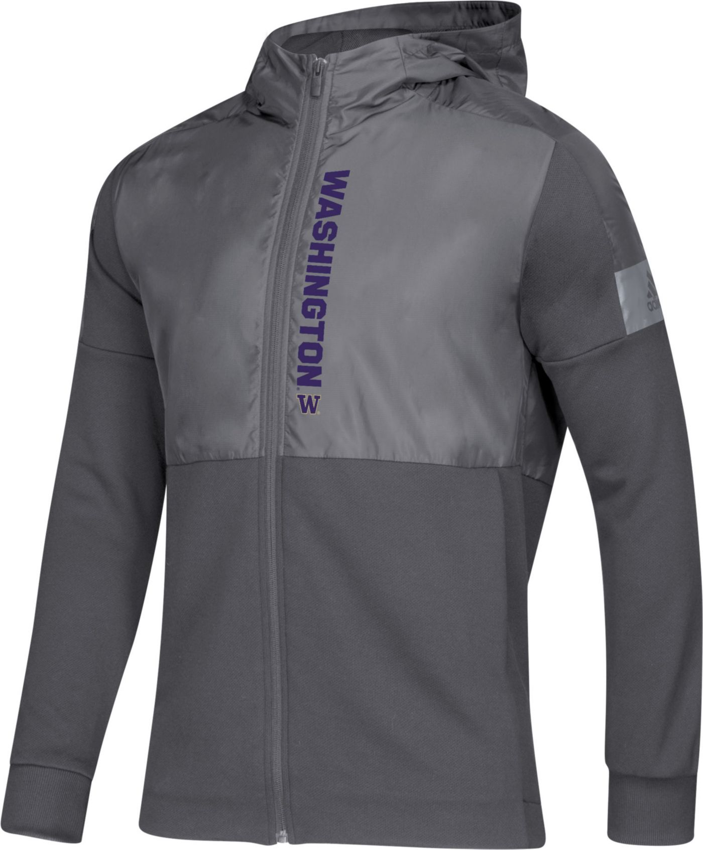 adidas Men's Washington Huskies Grey Game Mode Sideline Full-Zip Jacket