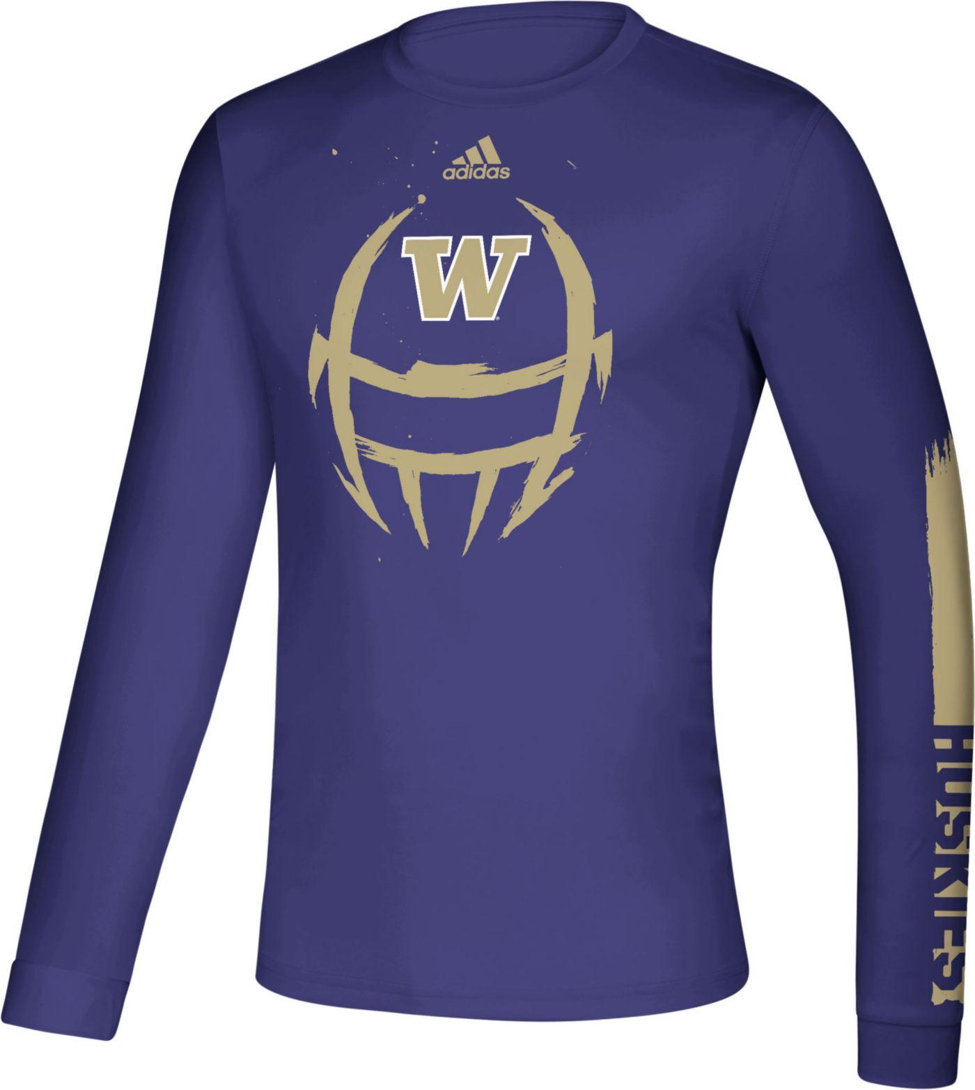 adidas Men's Washington Huskies Purple Locker Football Long Sleeve T-Shirt