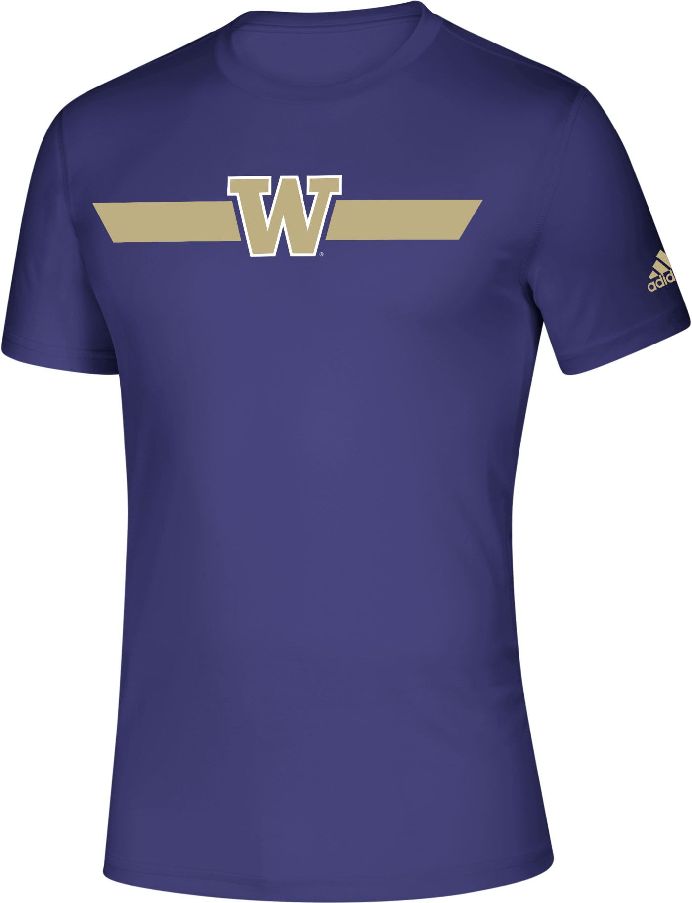 adidas Men's Washington Huskies Purple Locker Stripe Sideline T-Shirt