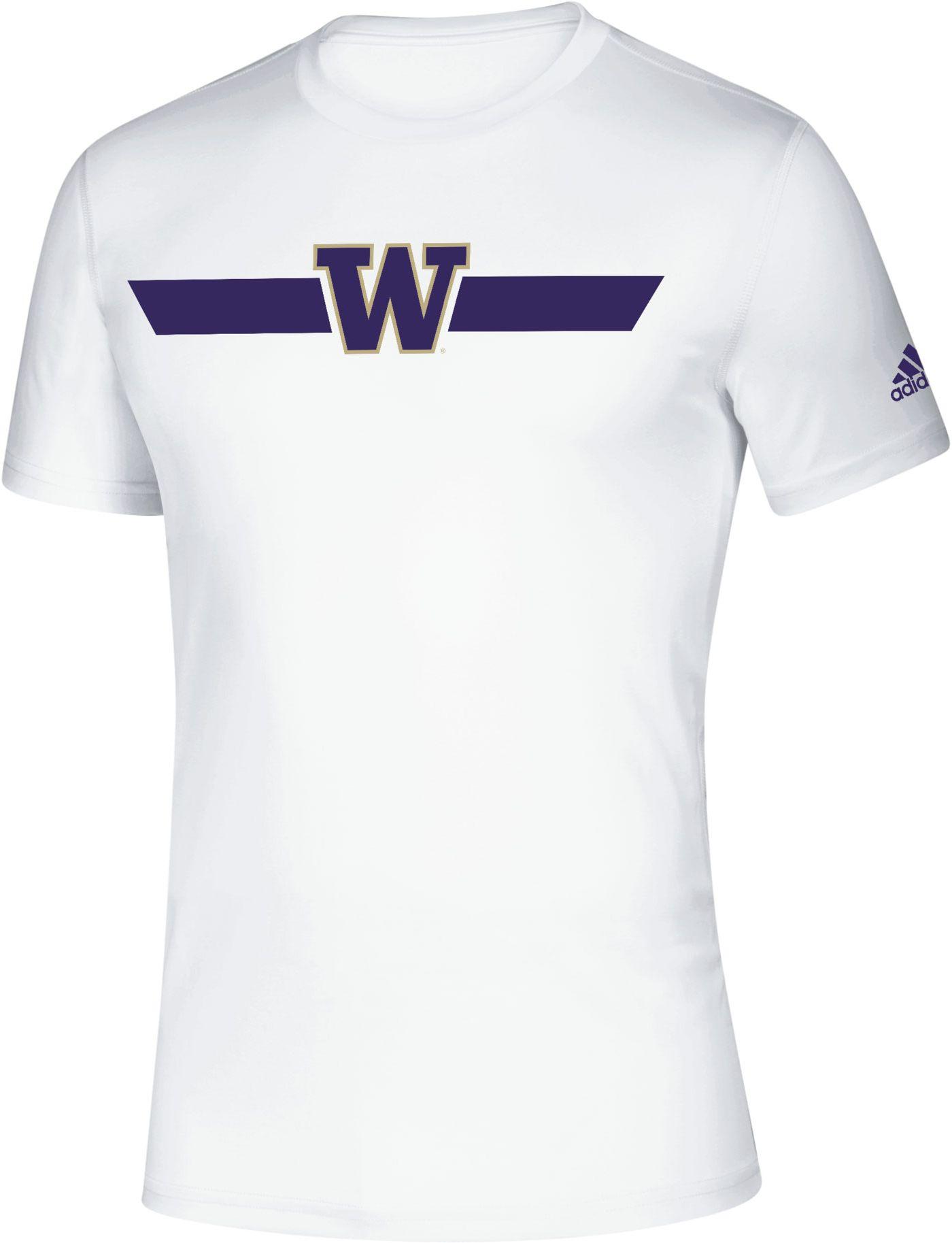 adidas Men's Washington Huskies Locker Stripe Sideline White T-Shirt