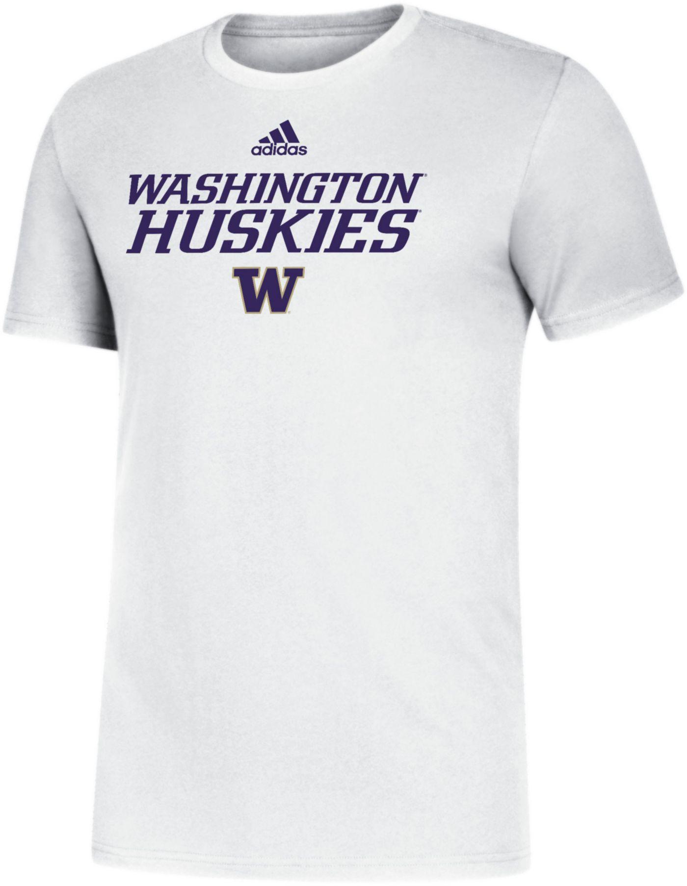 adidas Men's Washington Huskies Sideline Locker Stacked White T-Shirt